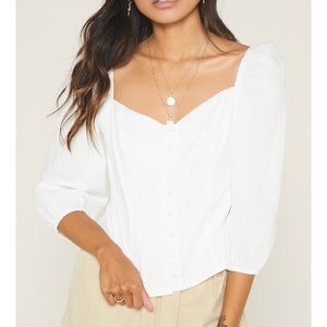 (NWT) SAGE The Label Tallow Button Front Top